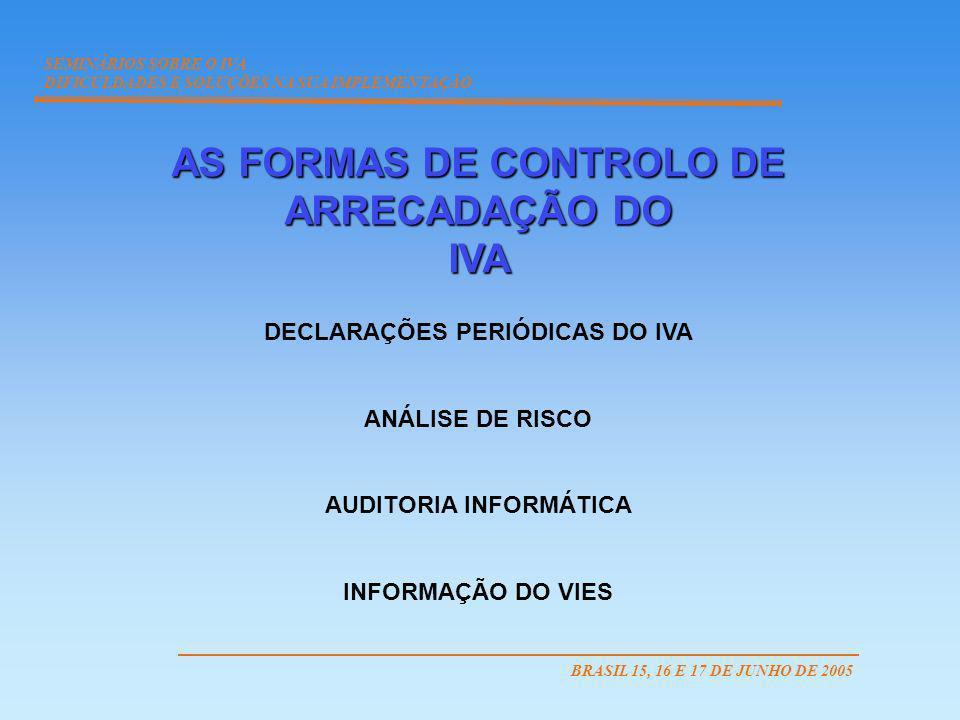 AS FORMAS DE CONTROLO DE ARRECADAÇÃO DO IVA DECLARAÇÕES PERIÓDICAS DO IVA ANÁLISE DE RISCO AUDITORIA INFORMÁTICA INFORMAÇÃO DO VIES SEMINÁRIOS SOBRE O