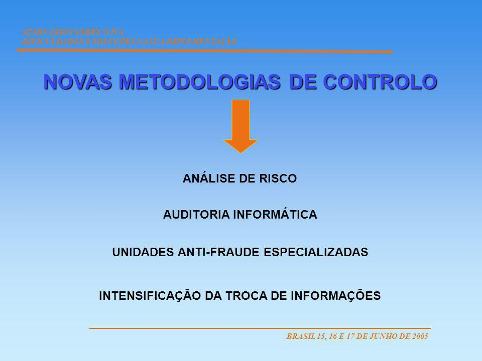 NOVAS METODOLOGIAS DE CONTROLO ANÁLISE DE RISCO AUDITORIA INFORMÁTICA UNIDADES ANTI-FRAUDE ESPECIALIZADAS INTENSIFICAÇÃO DA TROCA DE INFORMAÇÕES SEMIN