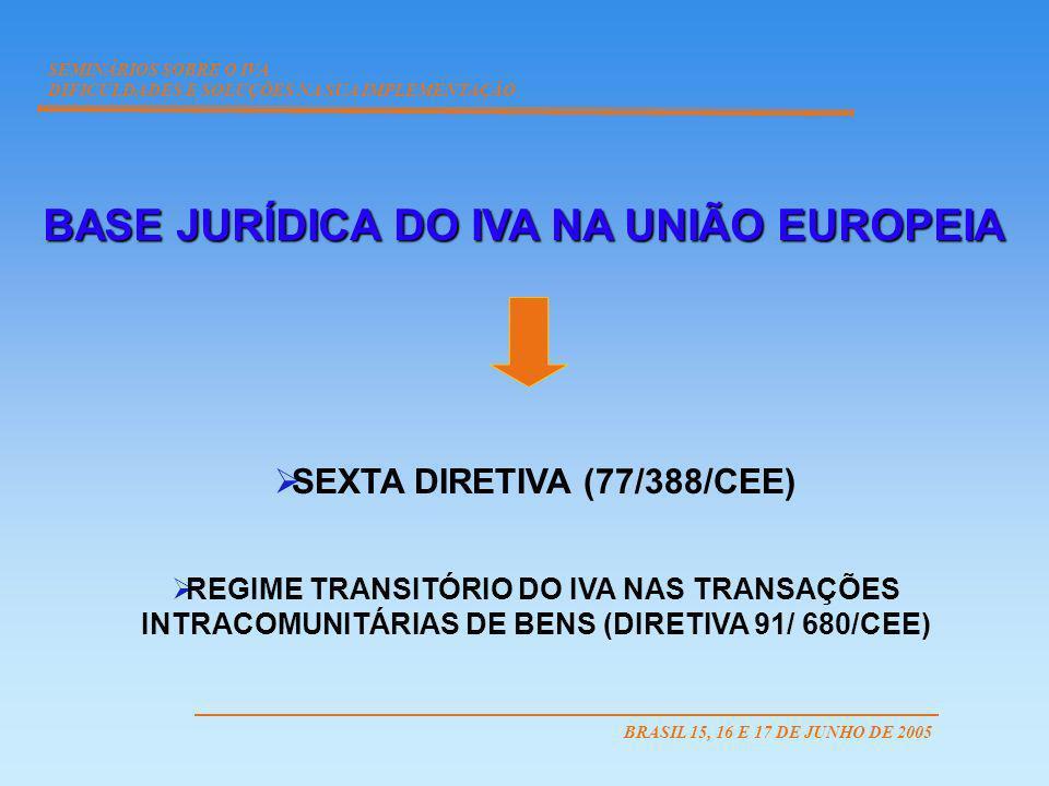 SEMINÁRIOS SOBRE O IVA DIFICULDADES E SOLUÇÕES NA SUA IMPLEMENTAÇÃO BRASIL 15, 16 E 17 DE JUNHO DE 2005 BASE JURÍDICA DO IVA NA UNIÃO EUROPEIA SEXTA D