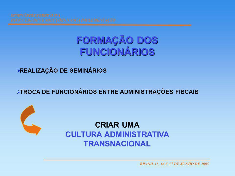 FORMAÇÃO DOS FUNCIONÁRIOS REALIZAÇÃO DE SEMINÁRIOS TROCA DE FUNCIONÁRIOS ENTRE ADMINISTRAÇÕES FISCAIS CRIAR UMA CULTURA ADMINISTRATIVA TRANSNACIONAL S