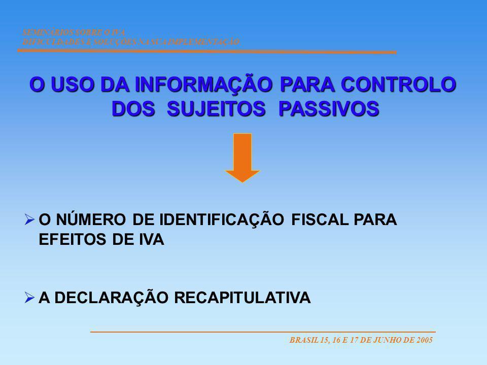 O NÚMERO DE IDENTIFICAÇÃO PARA EFEITOS DE IVA PARA EFEITOS DE IVA PREFIXO DO ESTADO MEMBRO QUE O ATRIBUIU SEMINÁRIOS SOBRE O IVA DIFICULDADES E SOLUÇÕES NA SUA IMPLEMENTAÇÃO BRASIL 15, 16 E 17 DE JUNHO DE 2005