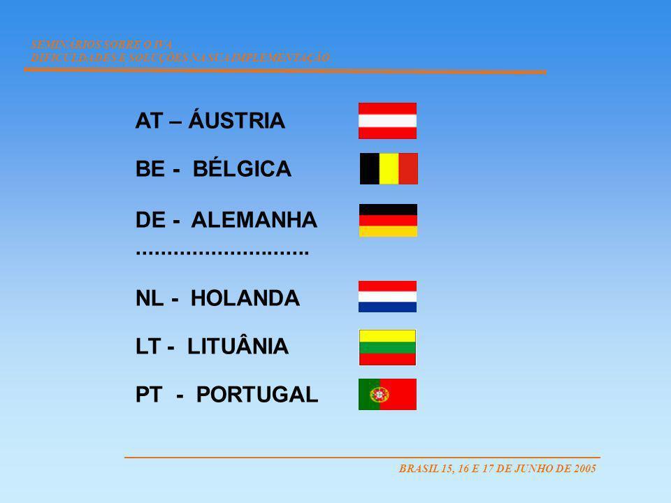 AT – ÁUSTRIA BE - BÉLGICA DE - ALEMANHA............................ NL - HOLANDA LT - LITUÂNIA PT - PORTUGAL SEMINÁRIOS SOBRE O IVA DIFICULDADES E SOL