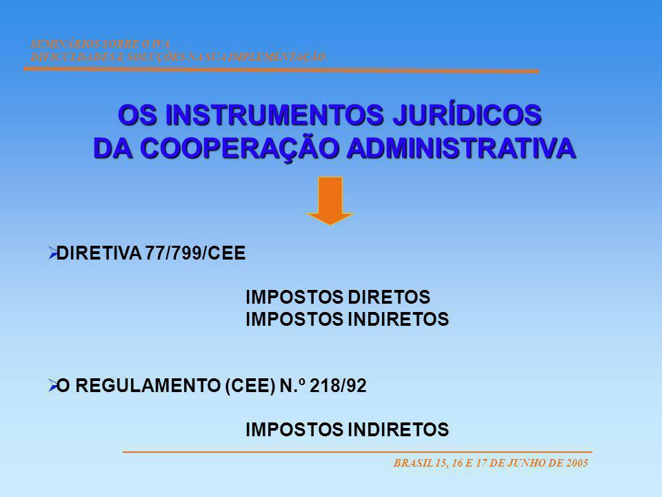 OS INSTRUMENTOS JURÍDICOS DA COOPERAÇÃO ADMINISTRATIVA DA COOPERAÇÃO ADMINISTRATIVA DIRETIVA 77/799/CEE IMPOSTOS DIRETOS IMPOSTOS INDIRETOS O REGULAME