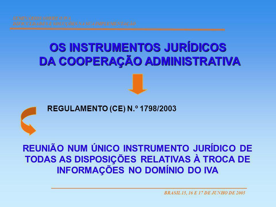 OS INSTRUMENTOS JURÍDICOS DA COOPERAÇÃO ADMINISTRATIVA DA COOPERAÇÃO ADMINISTRATIVA REGULAMENTO (CE) N.º 1798/2003 REUNIÃO NUM ÚNICO INSTRUMENTO JURÍD