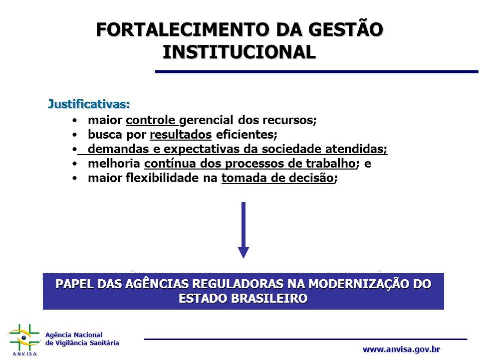Agência Nacional de Vigilância Sanitária www.anvisa.gov.br FORTALECIMENTO DA GESTÃO INSTITUCIONAL Justificativas: maior controle gerencial dos recurso