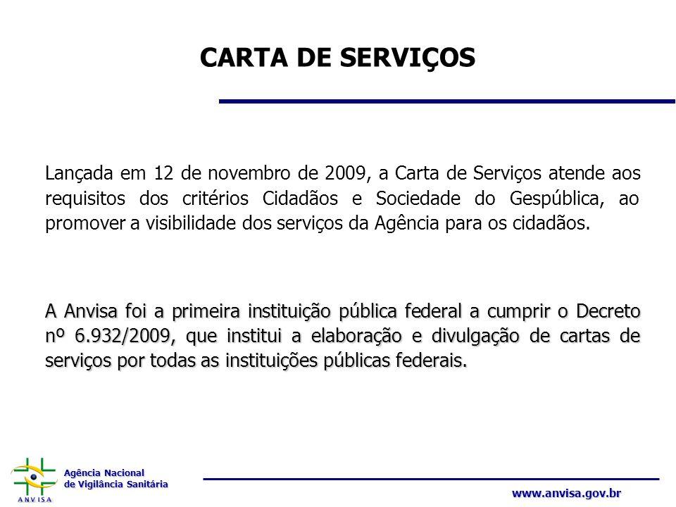 Agência Nacional de Vigilância Sanitária www.anvisa.gov.br CARTA DE SERVIÇOS Lançada em 12 de novembro de 2009, a Carta de Serviços atende aos requisi