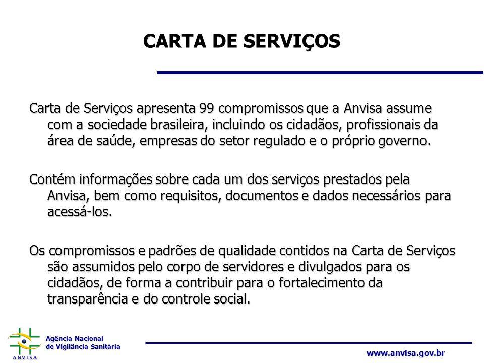 Agência Nacional de Vigilância Sanitária www.anvisa.gov.br CARTA DE SERVIÇOS Carta de Serviços apresenta 99 compromissos que a Anvisa assume com a soc