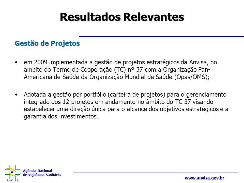 Agência Nacional de Vigilância Sanitária www.anvisa.gov.br Resultados Relevantes Gestão de Projetos em 2009 implementada a gestão de projetos estratég