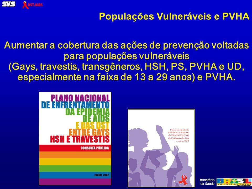 Ministério da Saúde Aumentar a cobertura das ações de prevenção voltadas para populações vulneráveis (Gays, travestis, transgêneros, HSH, PS, PVHA e UD, especialmente na faixa de 13 a 29 anos) e PVHA.