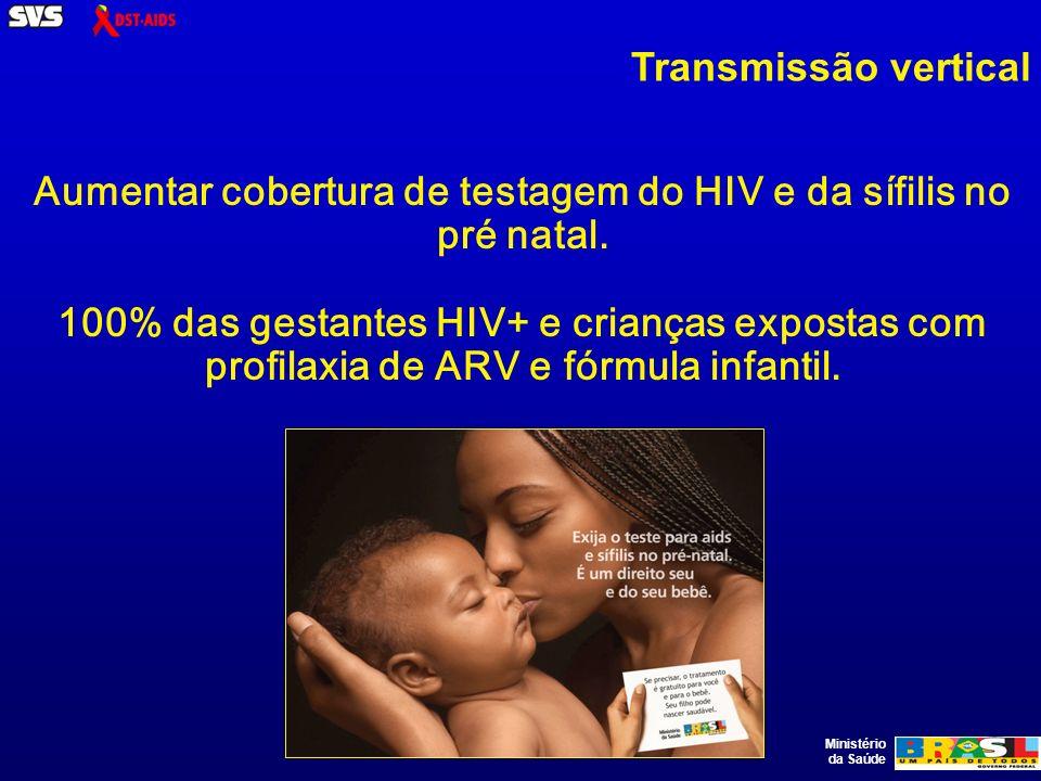 Ministério da Saúde Transmissão vertical Aumentar cobertura de testagem do HIV e da sífilis no pré natal.