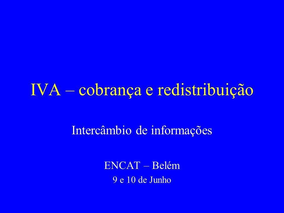 IVA – cobrança e redistribuição Intercâmbio de informações ENCAT – Belém 9 e 10 de Junho