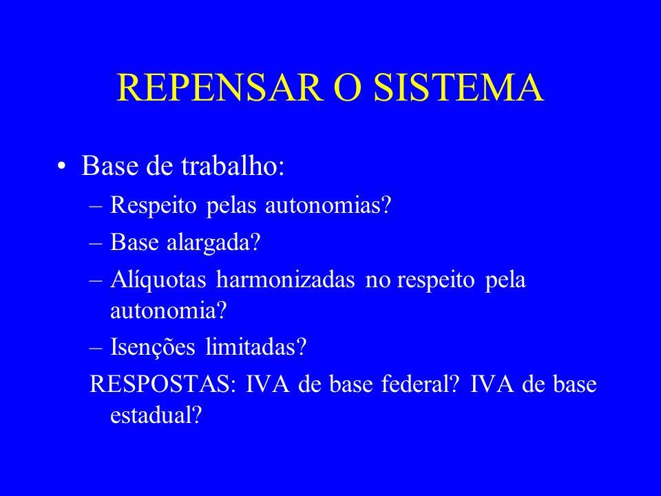 REPENSAR O SISTEMA IVA de base federal: –Modelo: Fusão IPI, PIS, COFINS, ICMS; Ficam de fora os serviços A base mantém-se reduzida Retira-se autonomia aos Estados Mantém-se a partilha com os Municípios.
