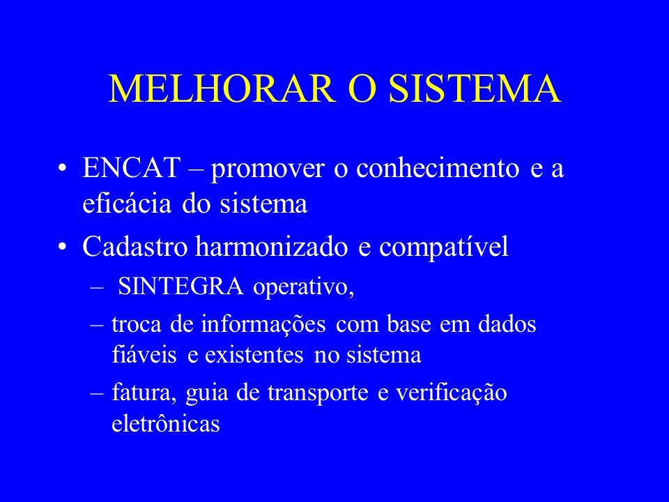 MELHORAR O SISTEMA ENCAT – promover o conhecimento e a eficácia do sistema Cadastro harmonizado e compatível – SINTEGRA operativo, –troca de informaçõ