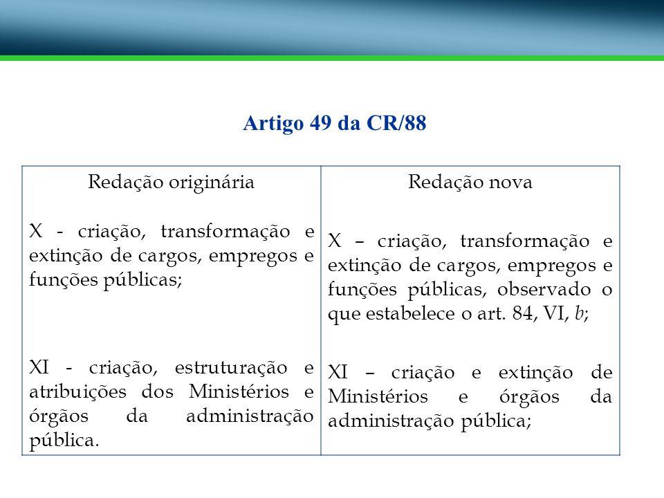 Redação originária X - criação, transformação e extinção de cargos, empregos e funções públicas; XI - criação, estruturação e atribuições dos Ministér