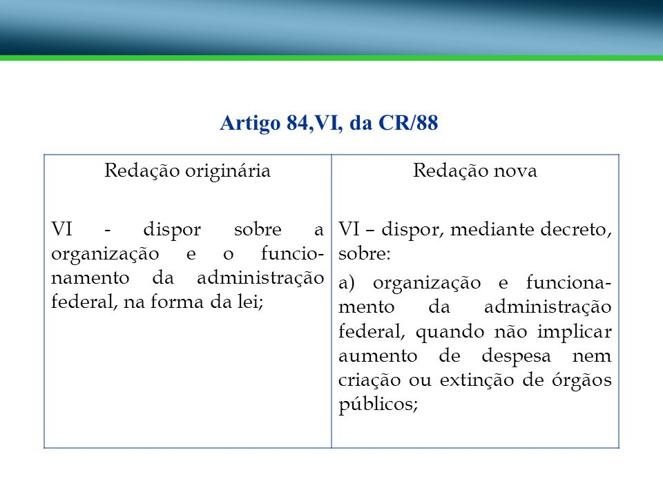 Redação originária VI - dispor sobre a organização e o funcio- namento da administração federal, na forma da lei; Redação nova VI – dispor, mediante d
