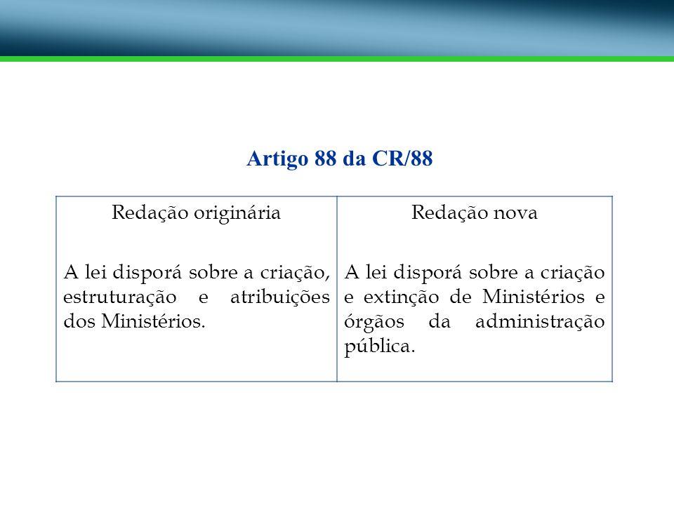 Redação originária A lei disporá sobre a criação, estruturação e atribuições dos Ministérios. Redação nova A lei disporá sobre a criação e extinção de