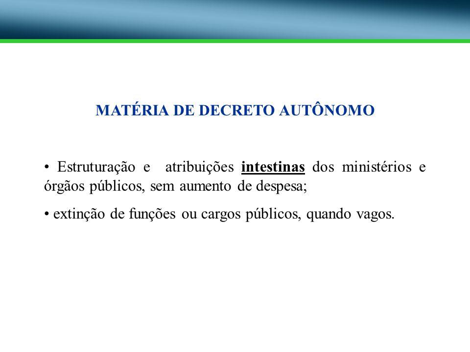 MATÉRIA DE DECRETO AUTÔNOMO Estruturação e atribuições intestinas dos ministérios e órgãos públicos, sem aumento de despesa; extinção de funções ou ca