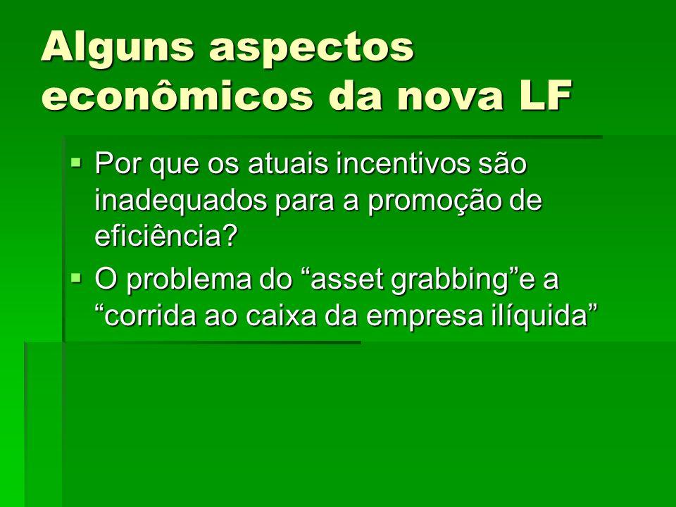 Alguns aspectos econômicos da nova LF Por que os atuais incentivos são inadequados para a promoção de eficiência? Por que os atuais incentivos são ina