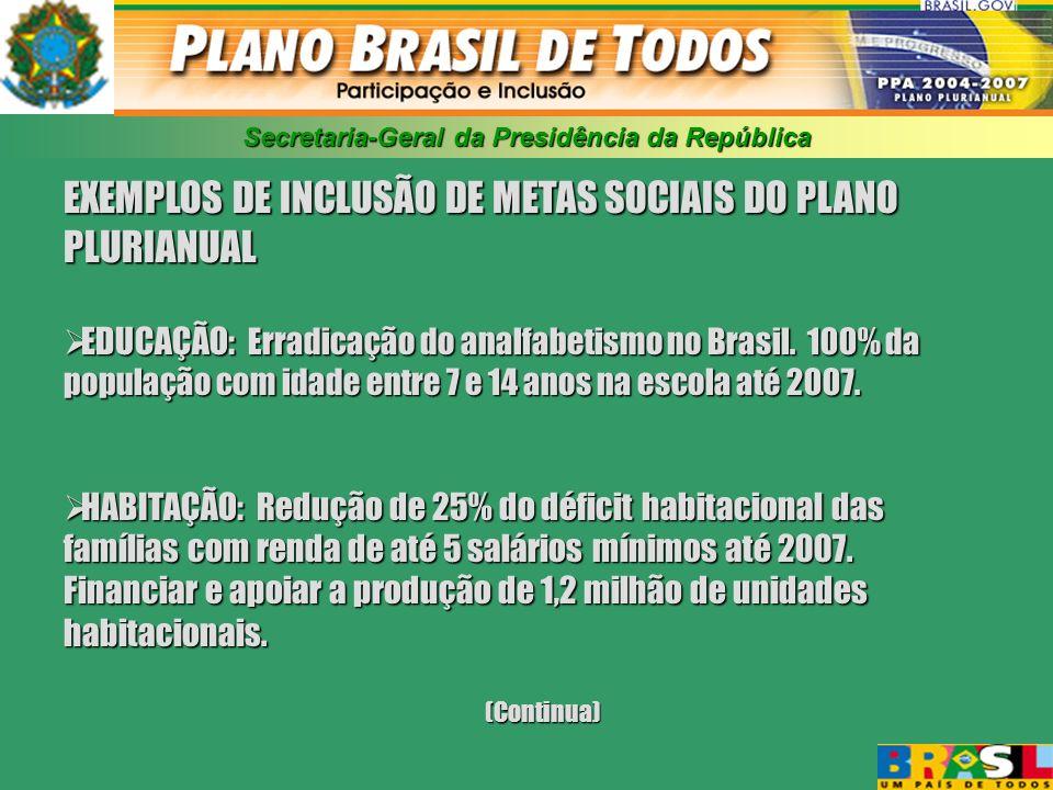 Secretaria-Geral da Presidência da República EXEMPLOS DE INCLUSÃO DE METAS SOCIAIS DO PLANO PLURIANUAL EDUCAÇÃO: Erradicação do analfabetismo no Brasil.