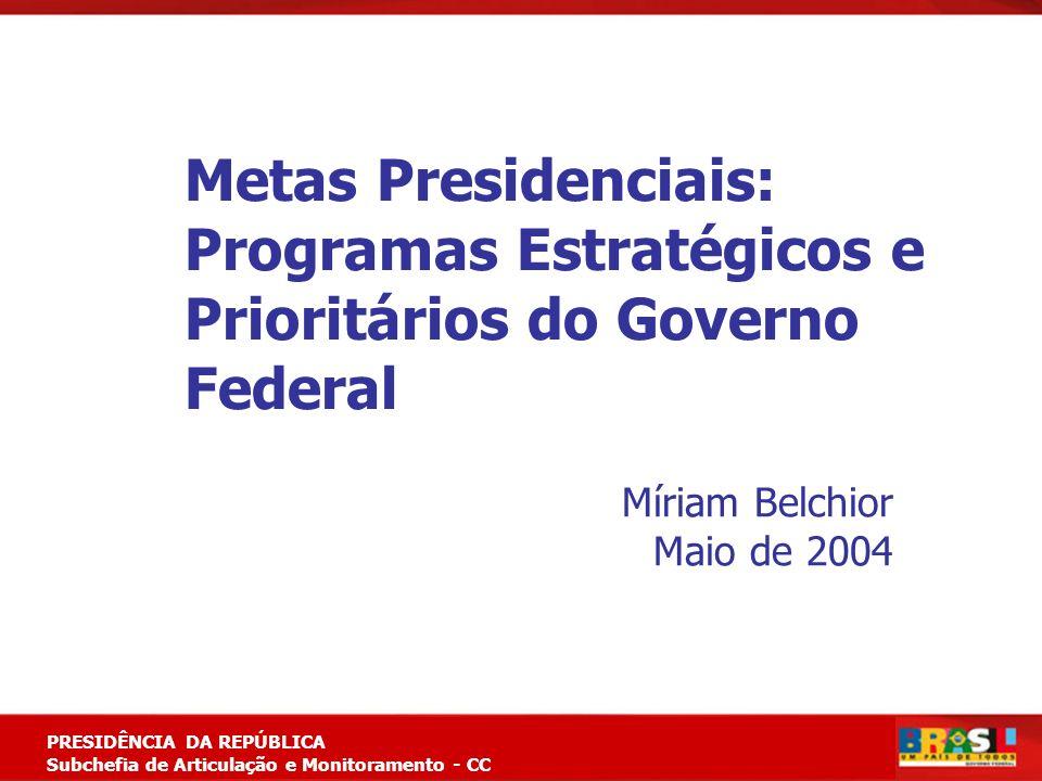 Planejamento Estratégico PRESIDÊNCIA DA REPÚBLICA Subchefia de Articulação e Monitoramento - CC Metas Presidenciais: Programas Estratégicos e Prioritá