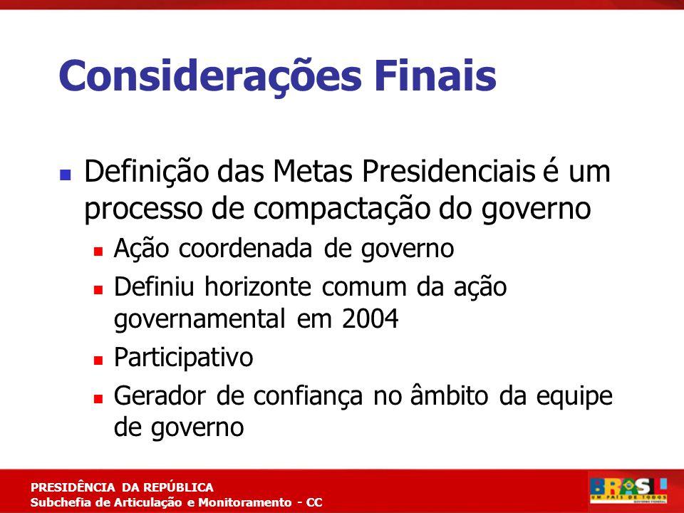 Planejamento Estratégico PRESIDÊNCIA DA REPÚBLICA Subchefia de Articulação e Monitoramento - CC Considerações Finais Definição das Metas Presidenciais