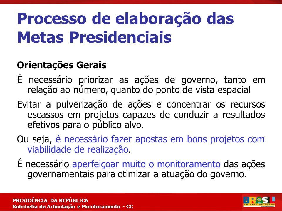 Planejamento Estratégico PRESIDÊNCIA DA REPÚBLICA Subchefia de Articulação e Monitoramento - CC Processo de elaboração das Metas Presidenciais Orienta