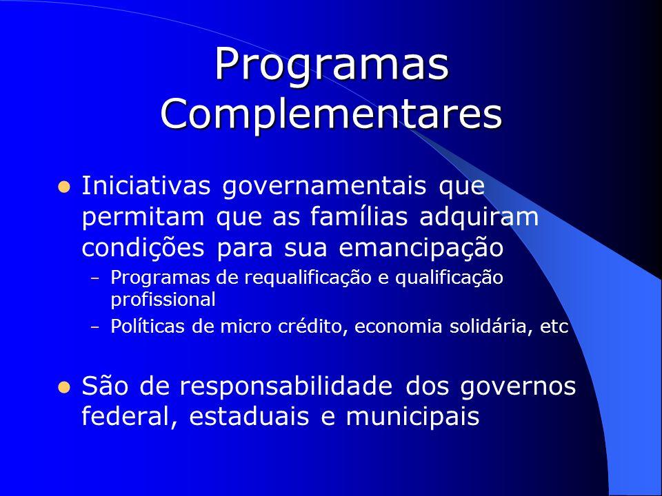 Programas Complementares Iniciativas governamentais que permitam que as famílias adquiram condições para sua emancipação – Programas de requalificação
