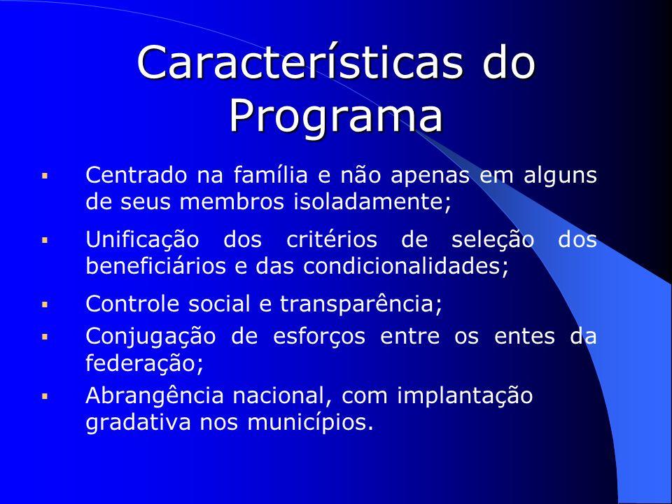 Características do Programa Centrado na família e não apenas em alguns de seus membros isoladamente; Unificação dos critérios de seleção dos beneficiá