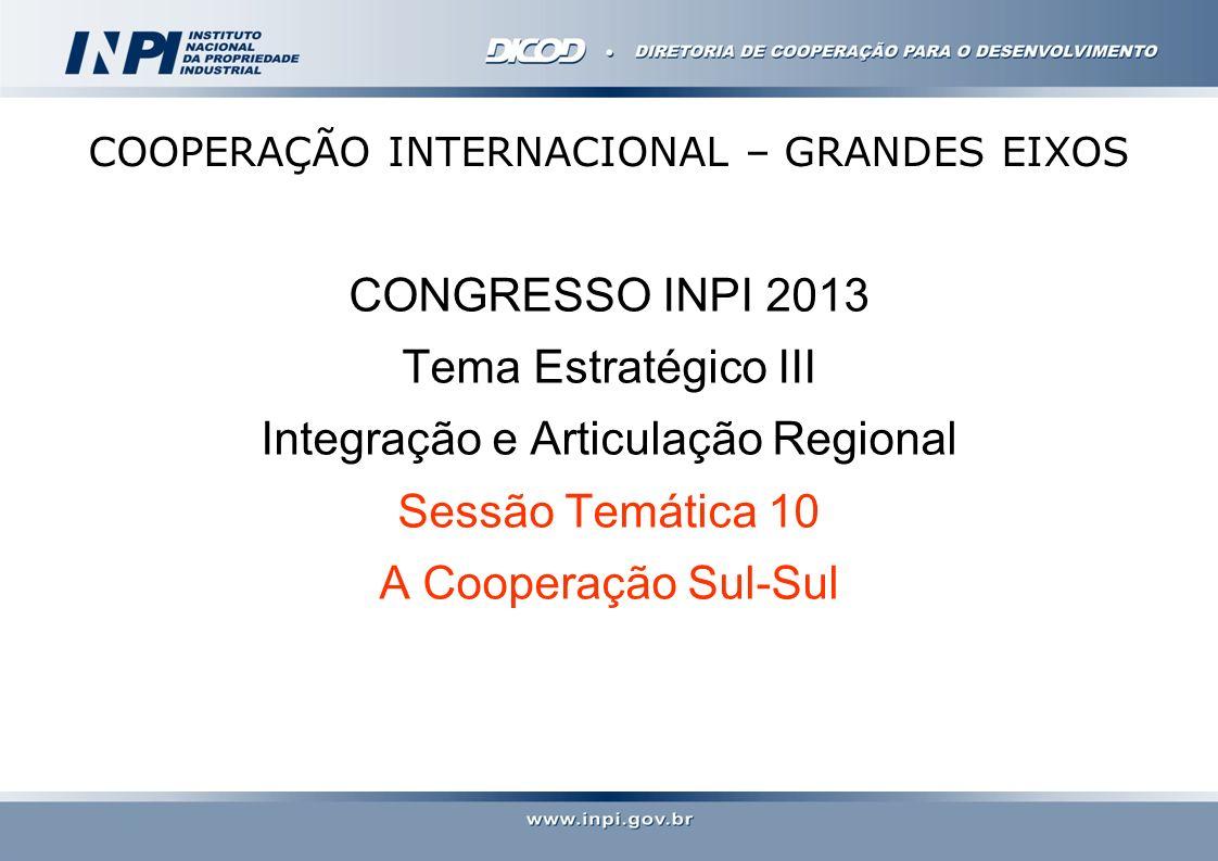 COOPERAÇÃO INTERNACIONAL – GRANDES EIXOS CONGRESSO INPI 2013 Tema Estratégico III Integração e Articulação Regional Sessão Temática 10 A Cooperação Su