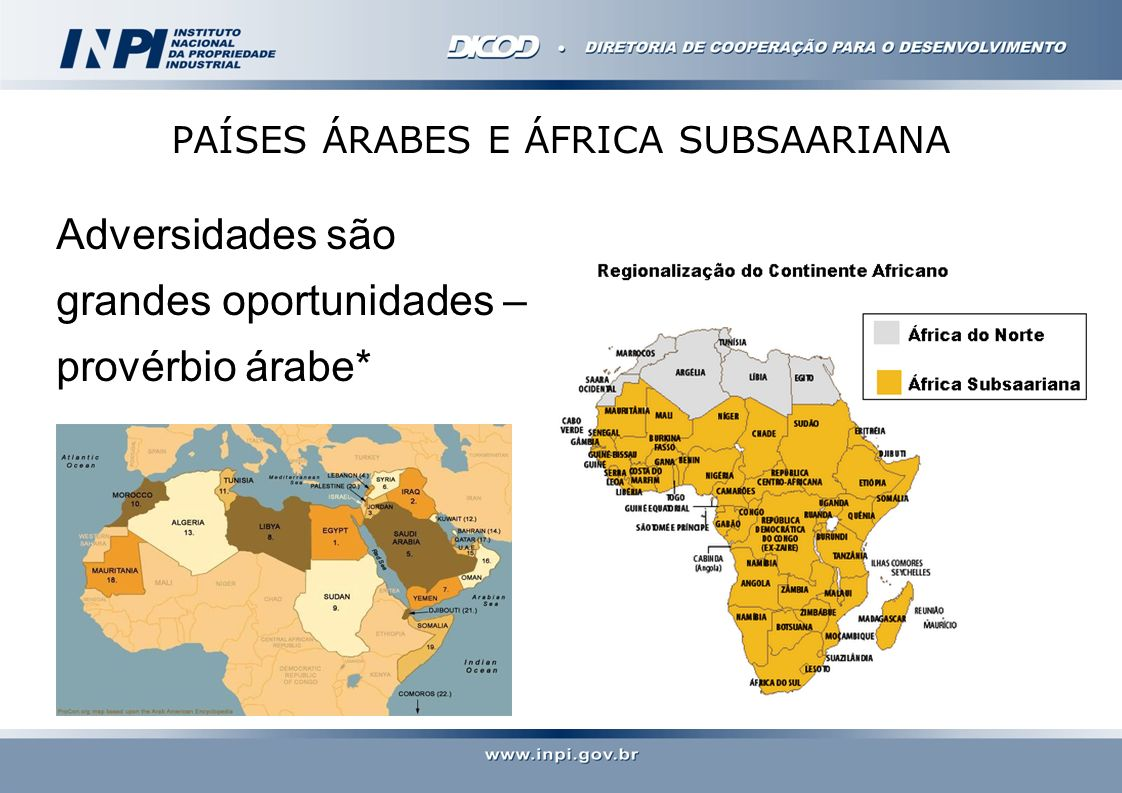 PAÍSES ÁRABES E ÁFRICA SUBSAARIANA Adversidades são grandes oportunidades – provérbio árabe*