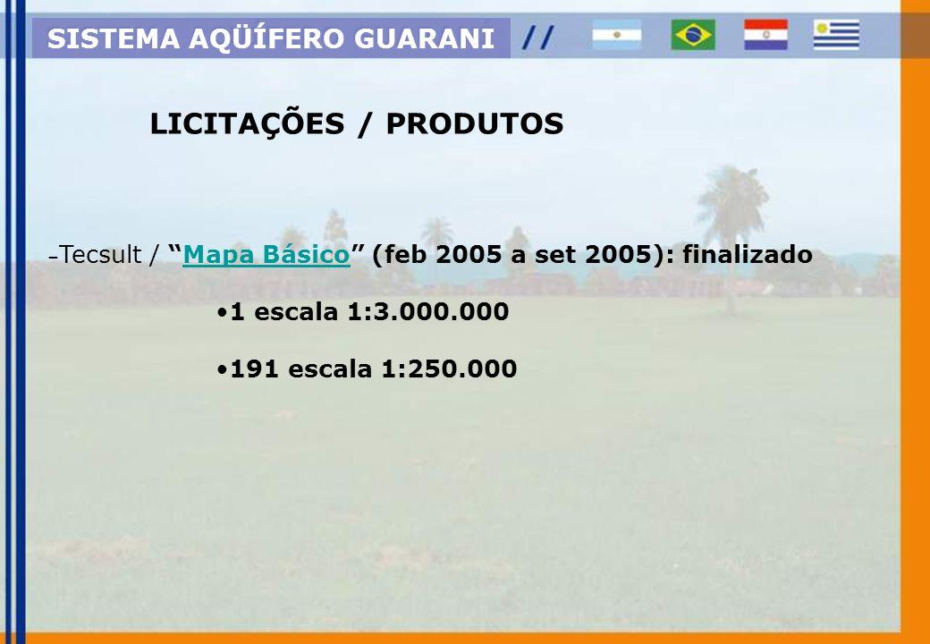 - -Consorcio Guaraní / Hidrogeologia Geral (abr/05): - -Base de dados HidrogeológicaBase de dados Hidrogeológica - -Primeiro e Segundo Informe GeológicoPrimeiro e Segundo Informe Geológico - -Manual de Perfurações SISTEMA AQÜÍFERO GUARANI LICITAÇÕES / PRODUTOS