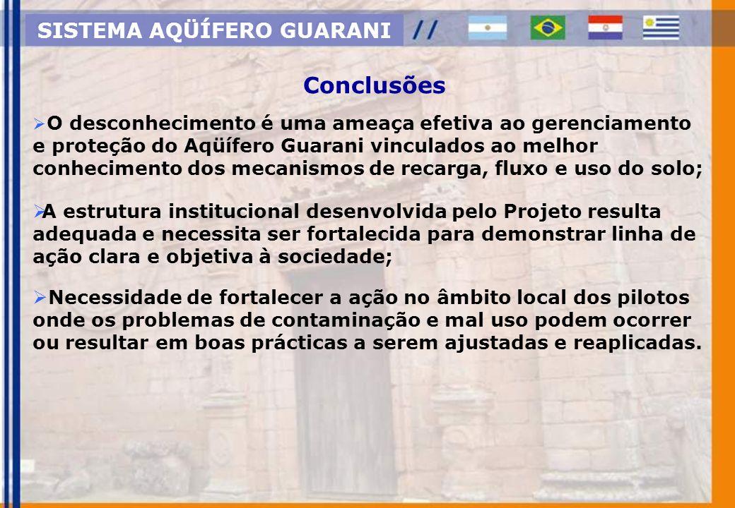 O desconhecimento é uma ameaça efetiva ao gerenciamento e proteção do Aqüífero Guarani vinculados ao melhor conhecimento dos mecanismos de recarga, fl