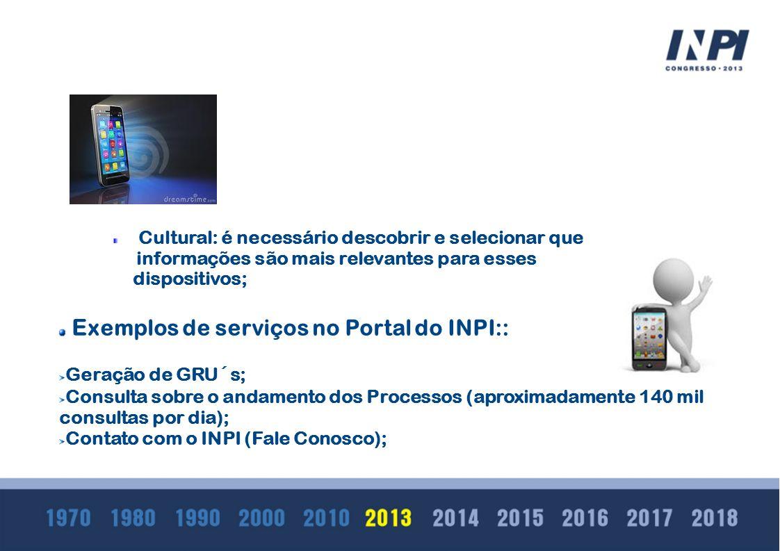 Cultural: é necessário descobrir e selecionar que informações são mais relevantes para esses dispositivos; E xemplos de serviços no Portal do INPI:: G