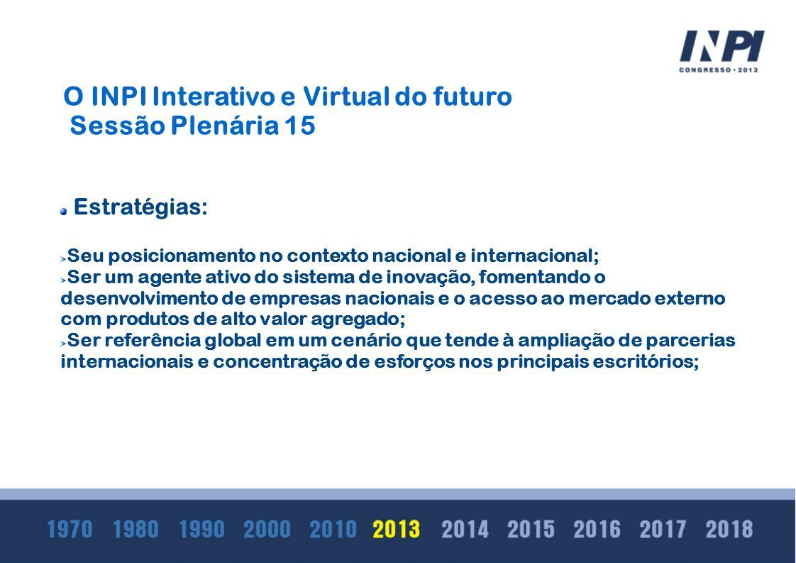 O INPI Interativo e Virtual do futuro Sessão Plenária 15 Estratégias: Seu posicionamento no contexto nacional e internacional; Ser um agente ativo do