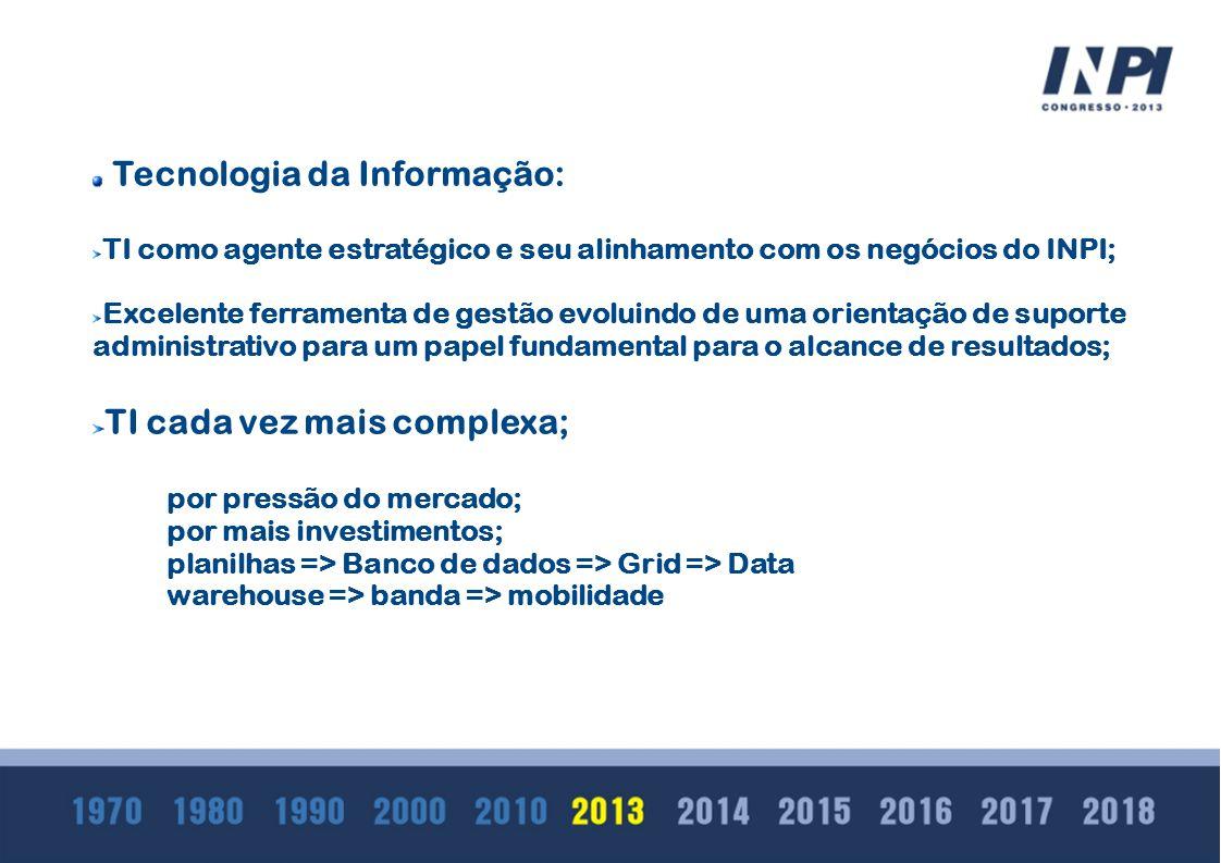 O INPI é detentor de informações de grande interesse para a sociedade; É fundamental que ele possua ferramentas voltadas para análises, extração de dados, transformações destes dados, geração de diferentes bases e produção de tabelas e gráficos; Tecnologia de bancos de dados analíticos tem evoluido para atender essa demanda e o INPI está se estruturando para apresentar uma solução de data warehouse que permita: Acesso rápido aos dados; Gerenciá-los de maneira rápida, fácil e econômica; Dar uma visão única de negócio; Obtenção rápida de resultados; Disponibilizar os relatórios em dispositivos móveis sem necessidade de reconstrução desses relatórios;
