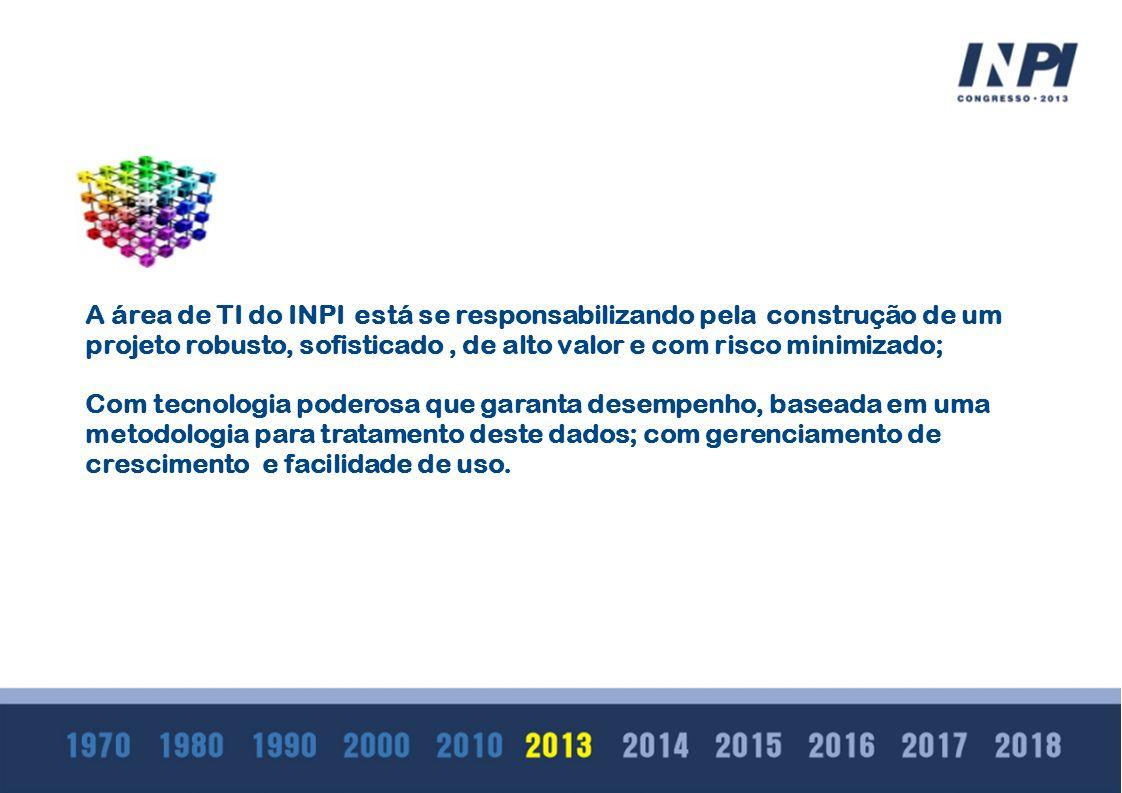 A A área de TI do INPI está se responsabilizando pela construção de um projeto robusto, sofisticado, de alto valor e com risco minimizado; Com tecnolo