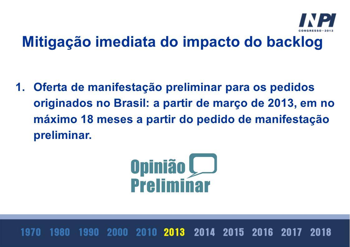 1.Oferta de manifestação preliminar para os pedidos originados no Brasil: a partir de março de 2013, em no máximo 18 meses a partir do pedido de manif