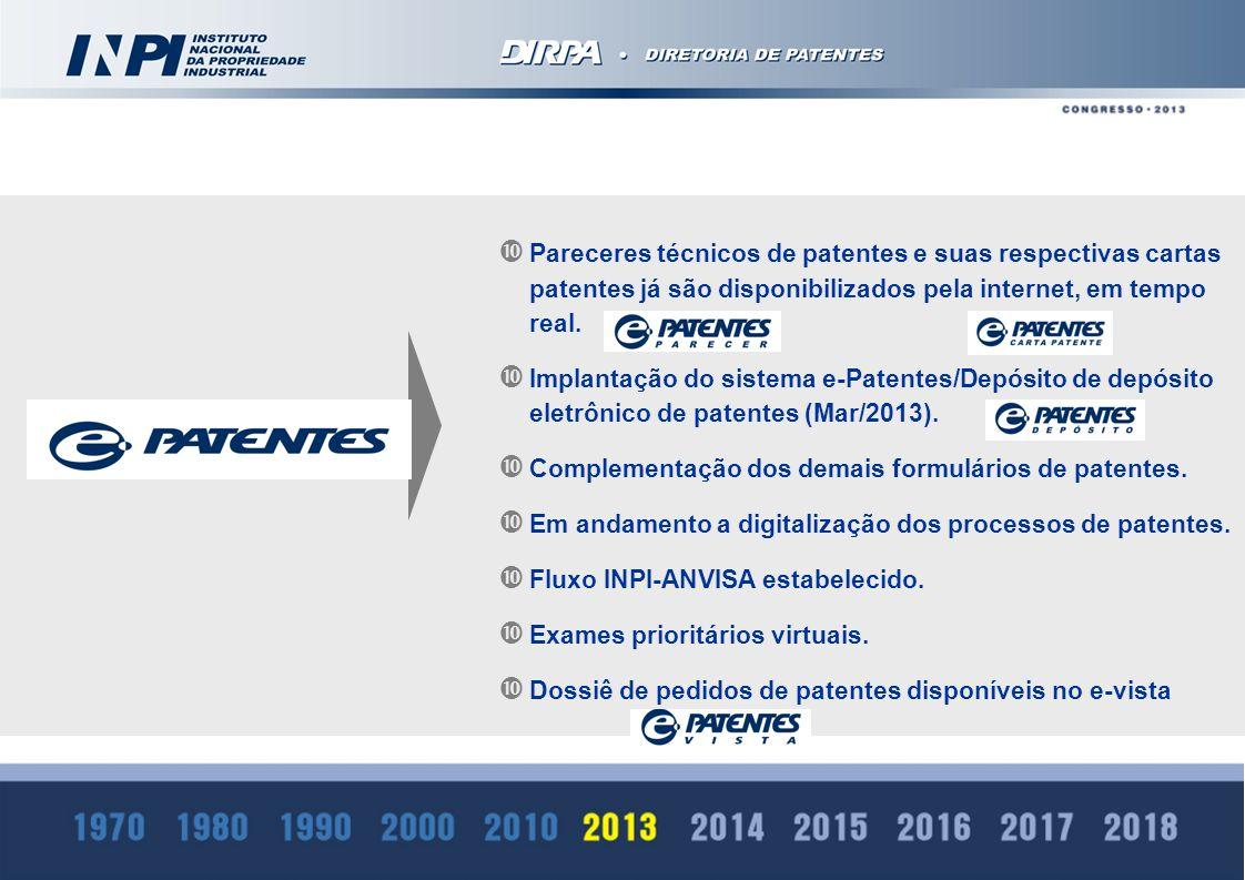 Pareceres técnicos de patentes e suas respectivas cartas patentes já são disponibilizados pela internet, em tempo real. Implantação do sistema e-Paten