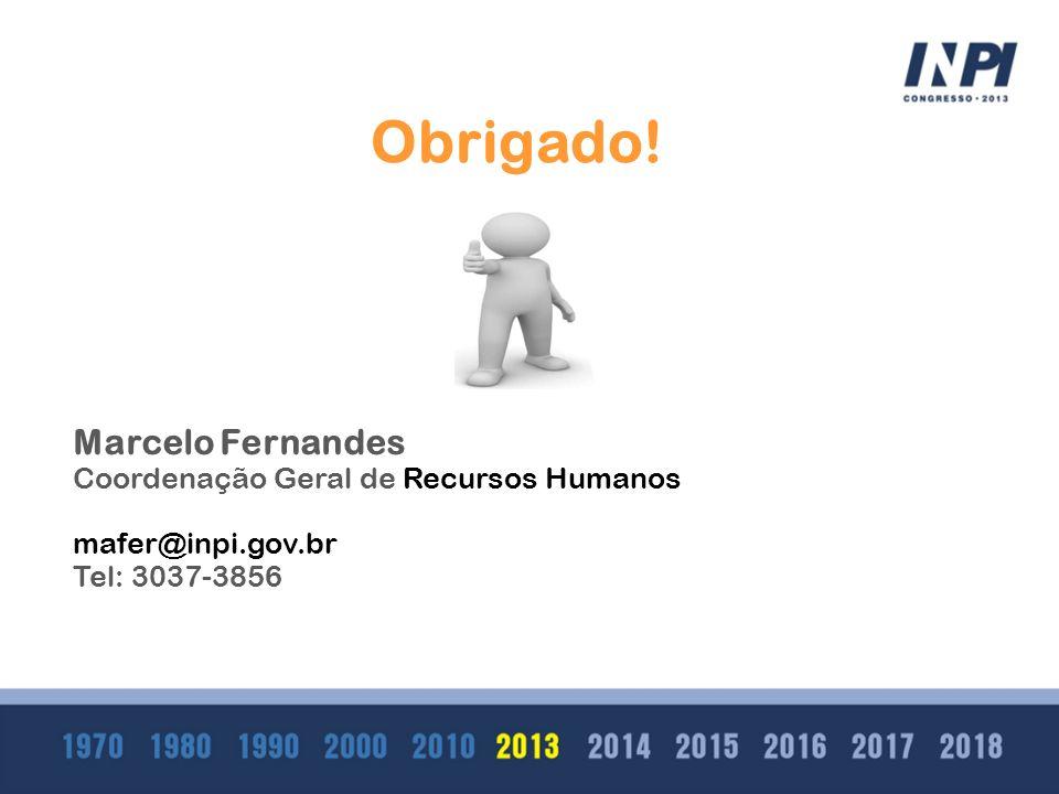 Clique para editar o estilo do subtítulo mestre Obrigado! Marcelo Fernandes Coordenação Geral de Recursos Humanos mafer@inpi.gov.br Tel: 3037-3856