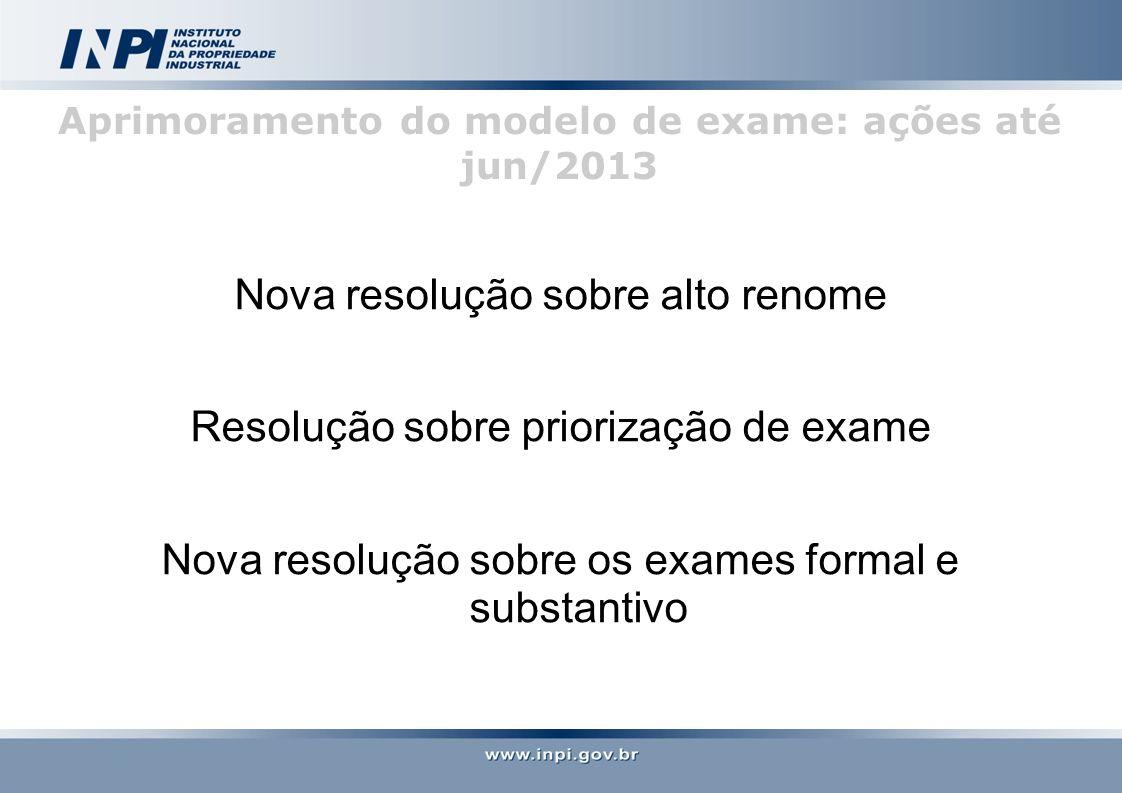 Aprimoramento do modelo de exame: ações até jun/2013 Nova resolução sobre alto renome Resolução sobre priorização de exame Nova resolução sobre os exames formal e substantivo