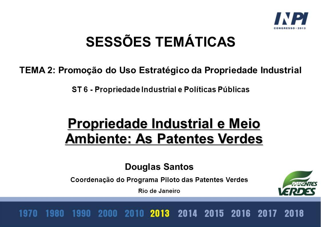 SESSÕES TEMÁTICAS TEMA 2: Promoção do Uso Estratégico da Propriedade Industrial ST 6 - Propriedade Industrial e Políticas Públicas Propriedade Industr