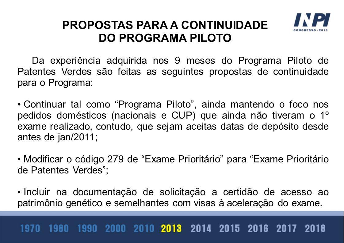 Da experiência adquirida nos 9 meses do Programa Piloto de Patentes Verdes são feitas as seguintes propostas de continuidade para o Programa: Continua