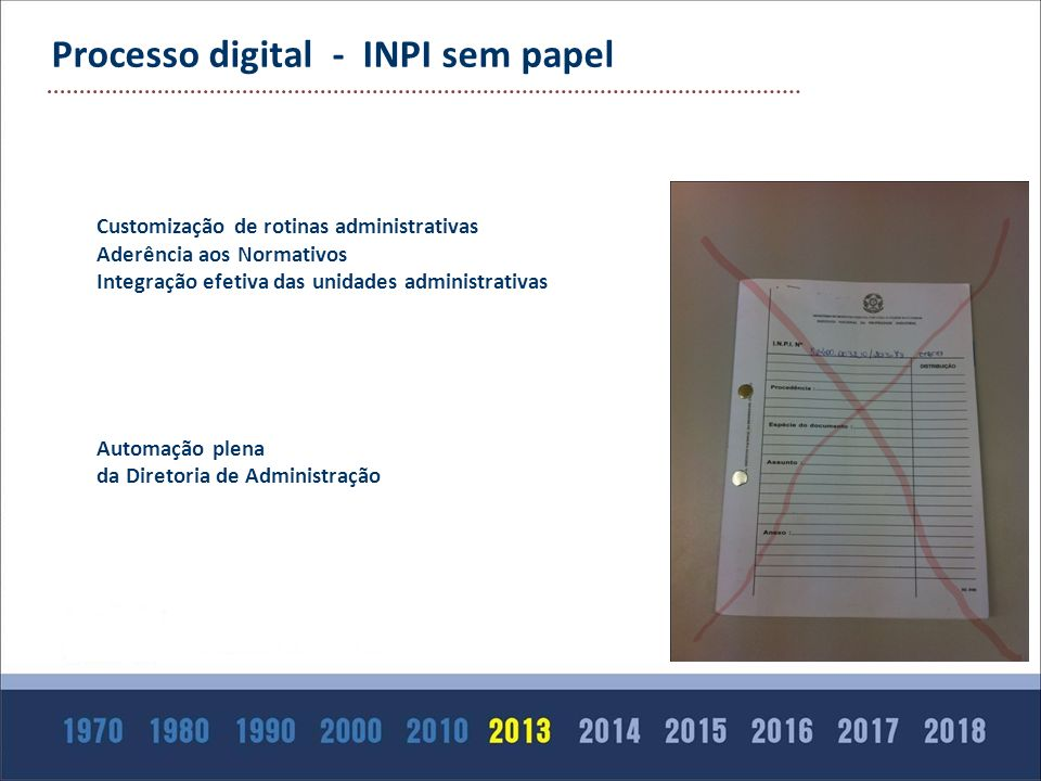 Processo digital - INPI sem papel Customização de rotinas administrativas Aderência aos Normativos Integração efetiva das unidades administrativas Aut