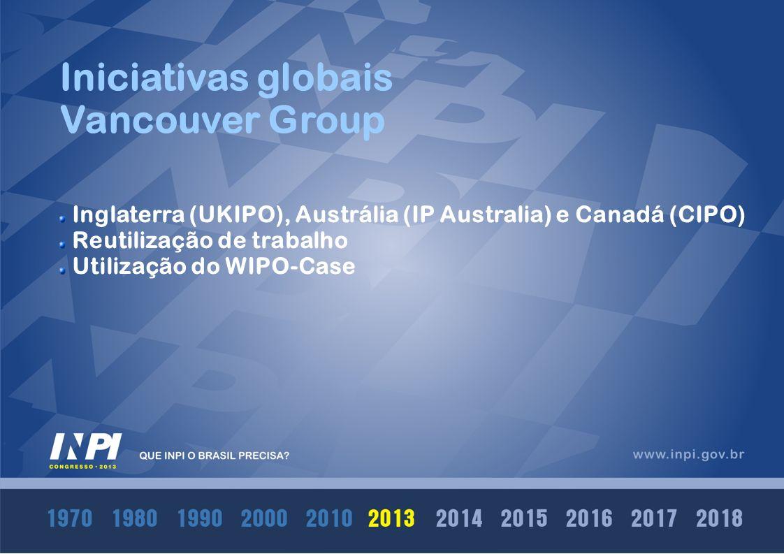 Iniciativas globais IP5 Europa (EPO), EUA (USPTO), Japão (JPO), China (SIPO), Coréia do Sul (KIPO) Repositório único global de documentos de patente Conceito One Portal Dossier