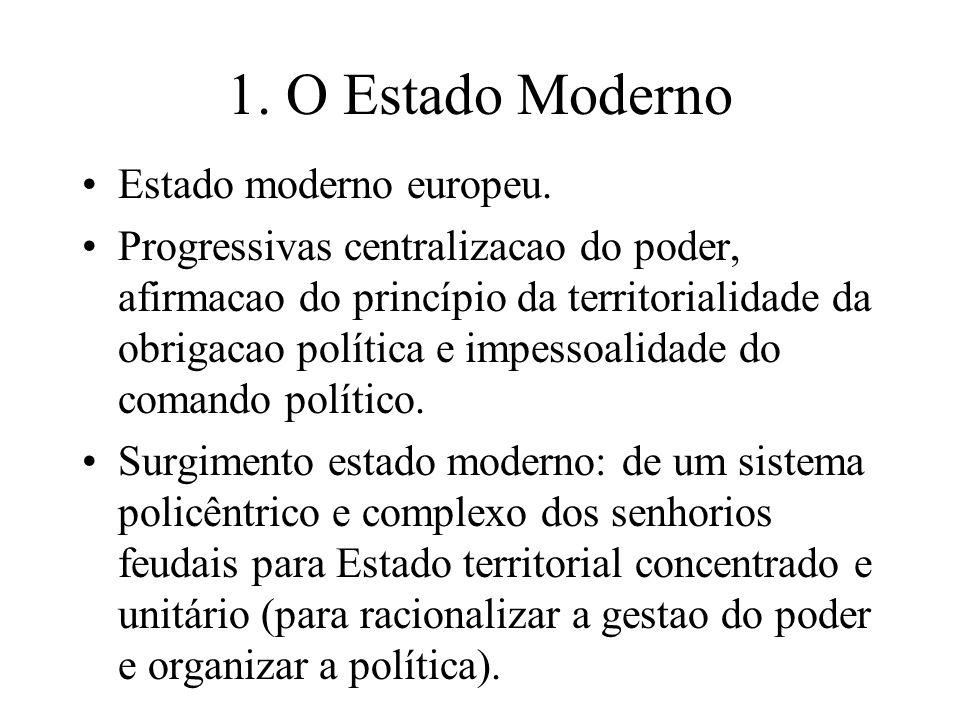 1. O Estado Moderno Estado moderno europeu. Progressivas centralizacao do poder, afirmacao do princípio da territorialidade da obrigacao política e im