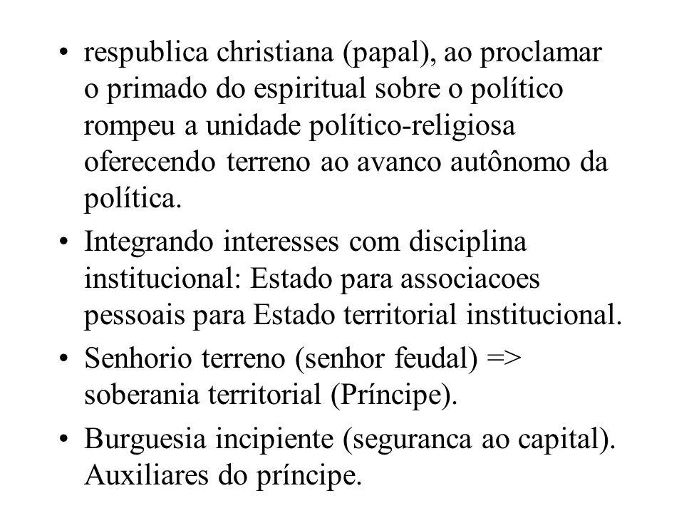 respublica christiana (papal), ao proclamar o primado do espiritual sobre o político rompeu a unidade político-religiosa oferecendo terreno ao avanco