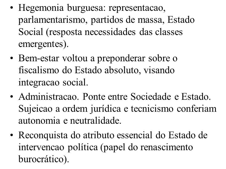 Hegemonia burguesa: representacao, parlamentarismo, partidos de massa, Estado Social (resposta necessidades das classes emergentes). Bem-estar voltou