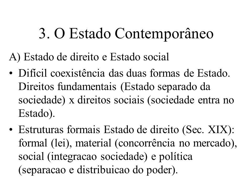 3. O Estado Contemporâneo A) Estado de direito e Estado social Difícil coexistência das duas formas de Estado. Direitos fundamentais (Estado separado