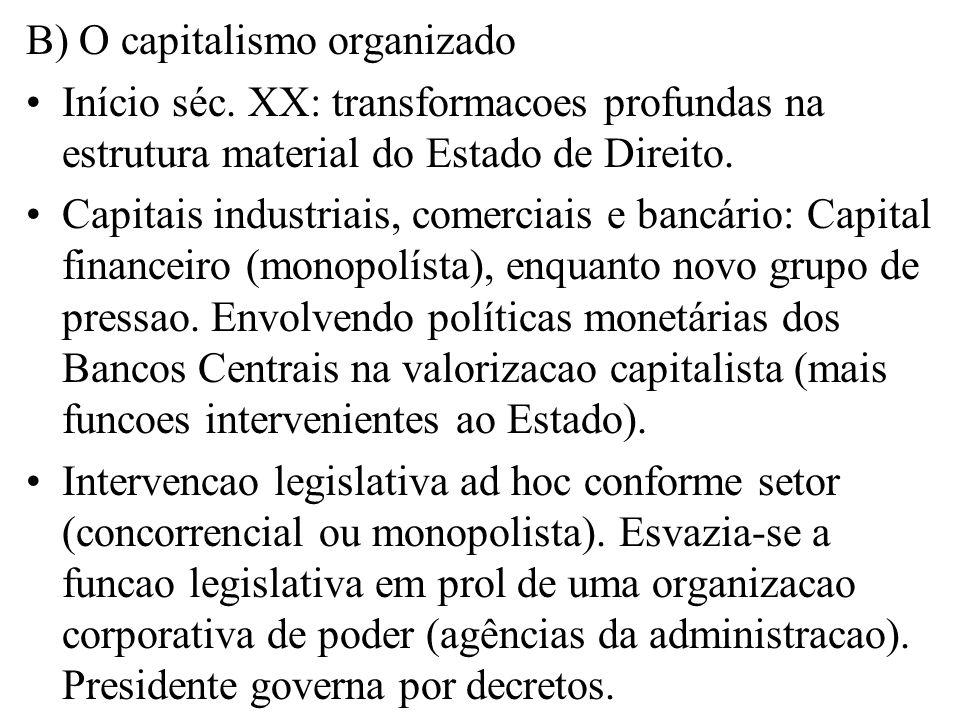 B) O capitalismo organizado Início séc. XX: transformacoes profundas na estrutura material do Estado de Direito. Capitais industriais, comerciais e ba