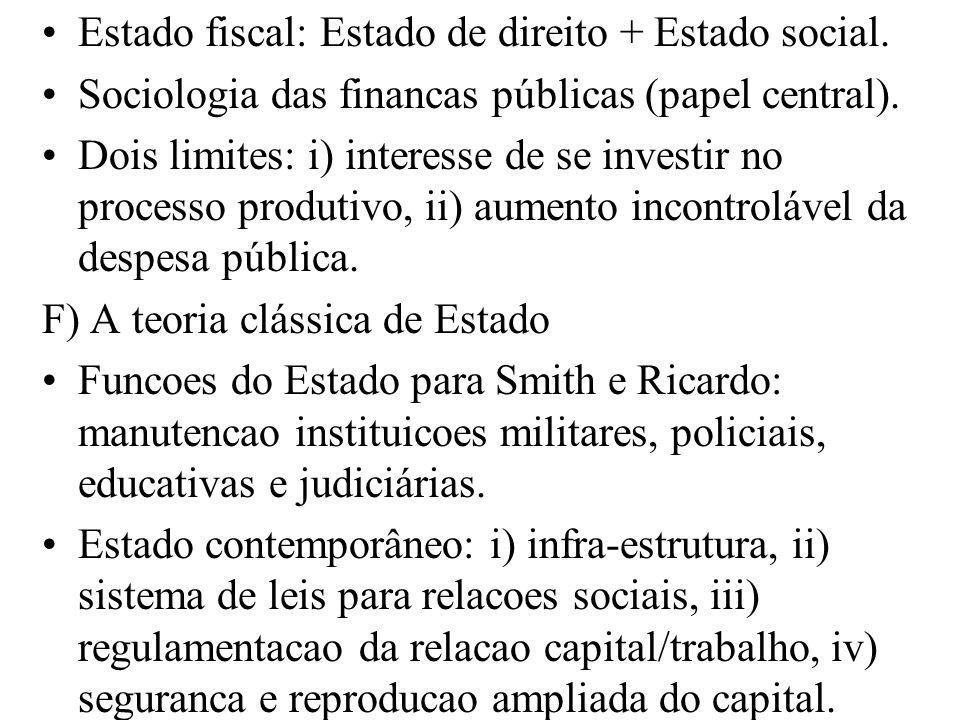 Estado fiscal: Estado de direito + Estado social. Sociologia das financas públicas (papel central). Dois limites: i) interesse de se investir no proce